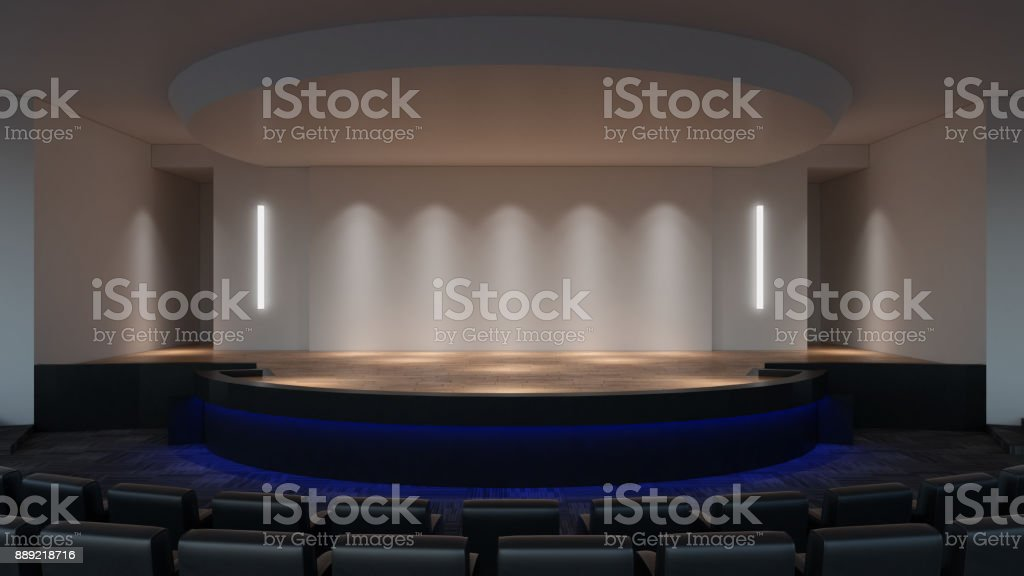 Stage mock up 3d rendering. empty wall screen template stock photo