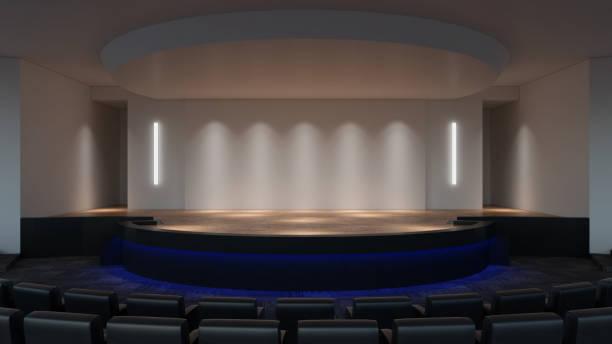 Estágio simulado para renderização 3d. modelo de tela de parede vazia - foto de acervo