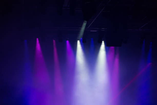 stage multicolored lighting - disco lights stock photos and pictures