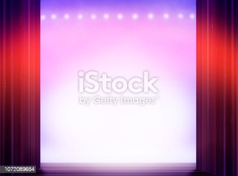 Stage from the view of performer to the audience. The empty space can be used to add some text for the upcoming New Year 2019, or any other theater event.