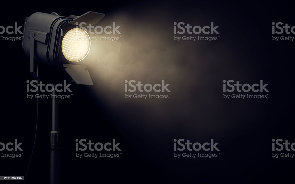 Stage spotlight in dark background stock photo