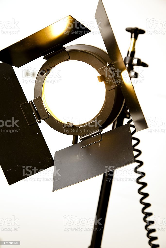 Stage Spotlight with wall in background. royalty-free stock photo