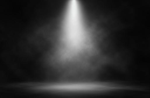 Stage white smoke spotlight background.