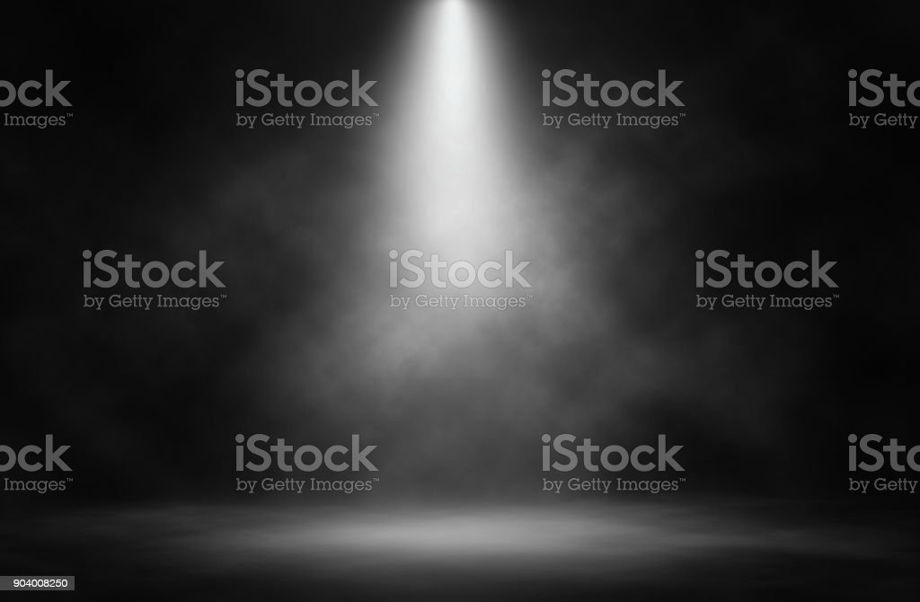 Stage white smoke spotlight background. - foto stock