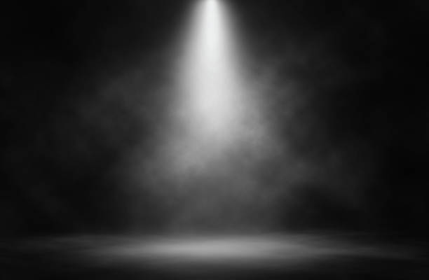 Stage white smoke spotlight background. stock photo