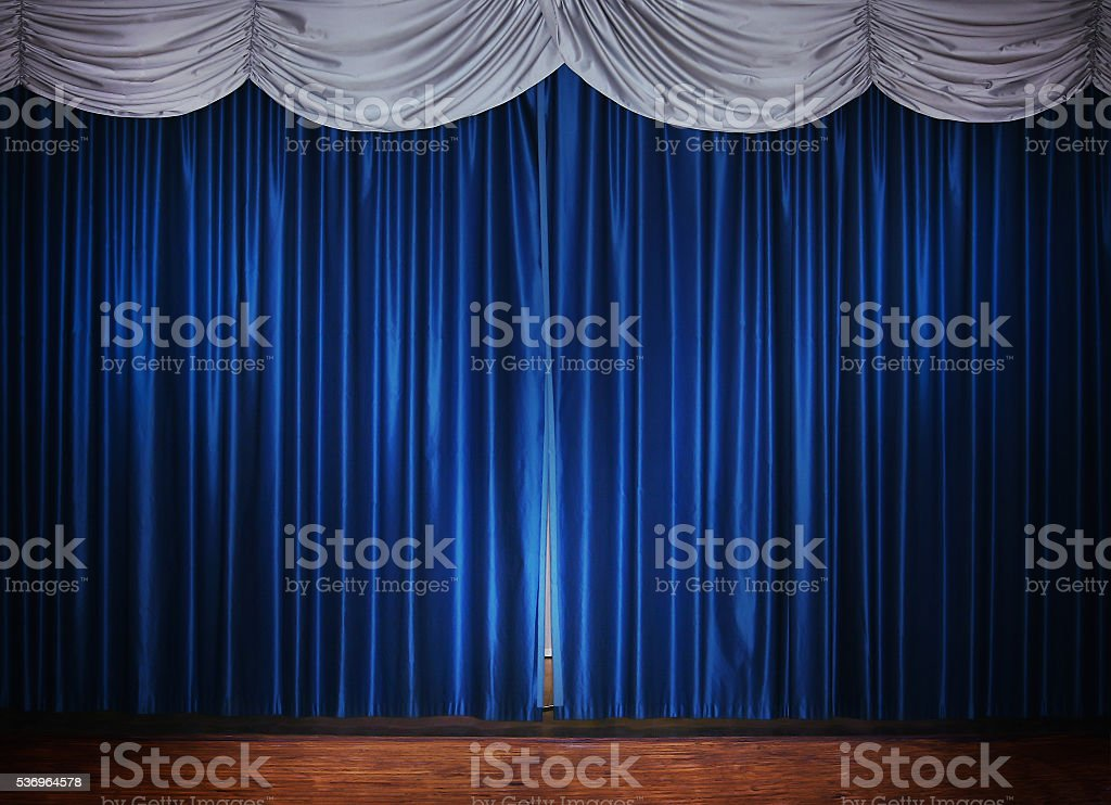 stage with blue curtain stock photo