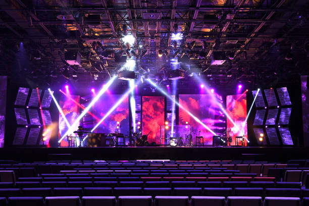 Stage With Lighting and Musical Instruments stock photo