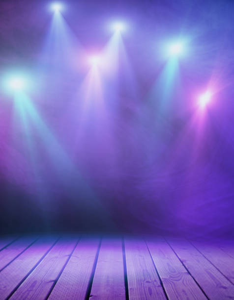 stage with purple smoke - stage performance space stock pictures, royalty-free photos & images