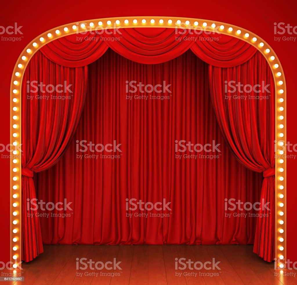 Stage with red curtain and lights stock photo
