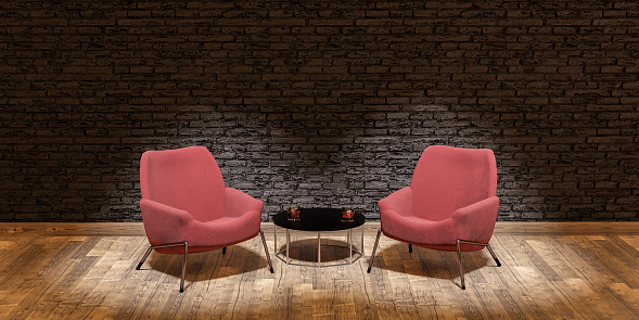 stage with two sofas and central table illuminated by spotlights in concept of debate, talk or interview. 3d render