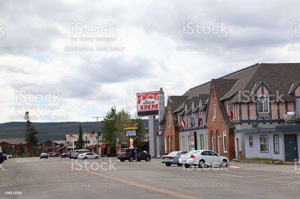 stagecoach inn west yellowstone cloudy sky stock photo