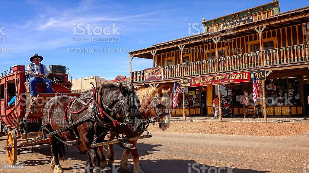 Stagecoach on the Streets of Tombstone, Arizona stock photo