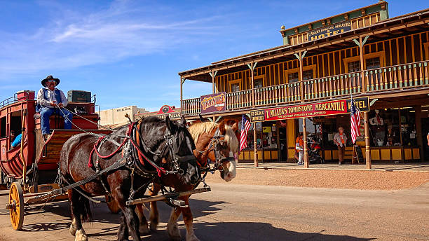 stagecoach on the streets of tombstone, arizona - western town stock photos and pictures