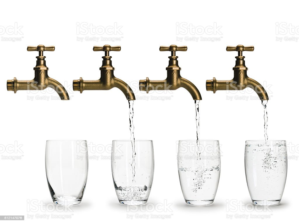 Stages, fillings of glass by water stock photo