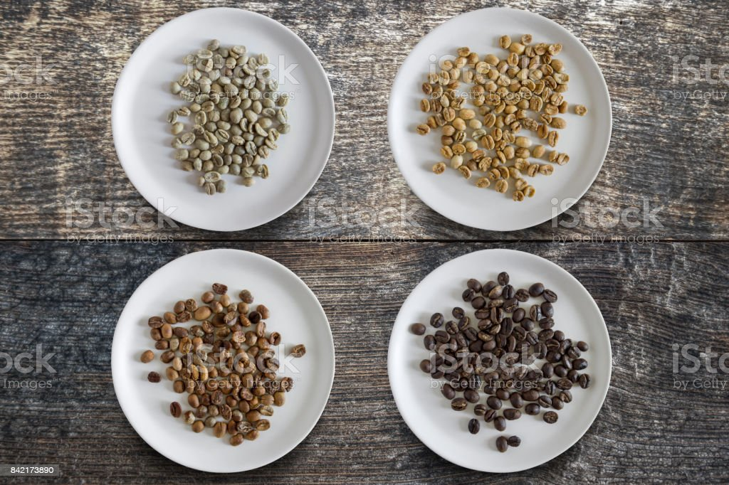 stages of coffee roasting stock photo