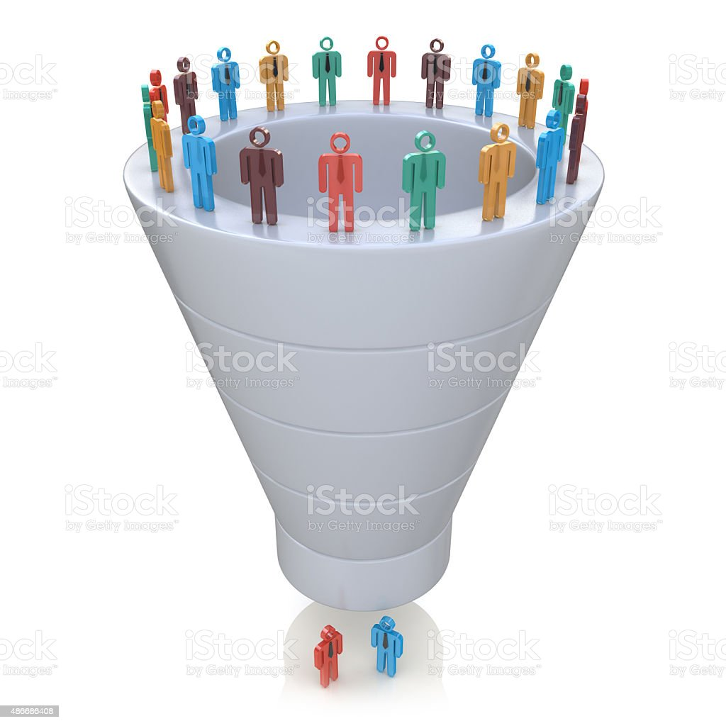 Stages of consumer interest. Sales Funnel stock photo