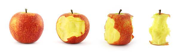 étapes de manger pomme - imploser photos et images de collection