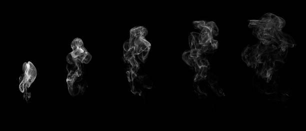 etapas de humo blanco. aislado sobre fondo negro. renderizado en 3d. - smoke fotografías e imágenes de stock