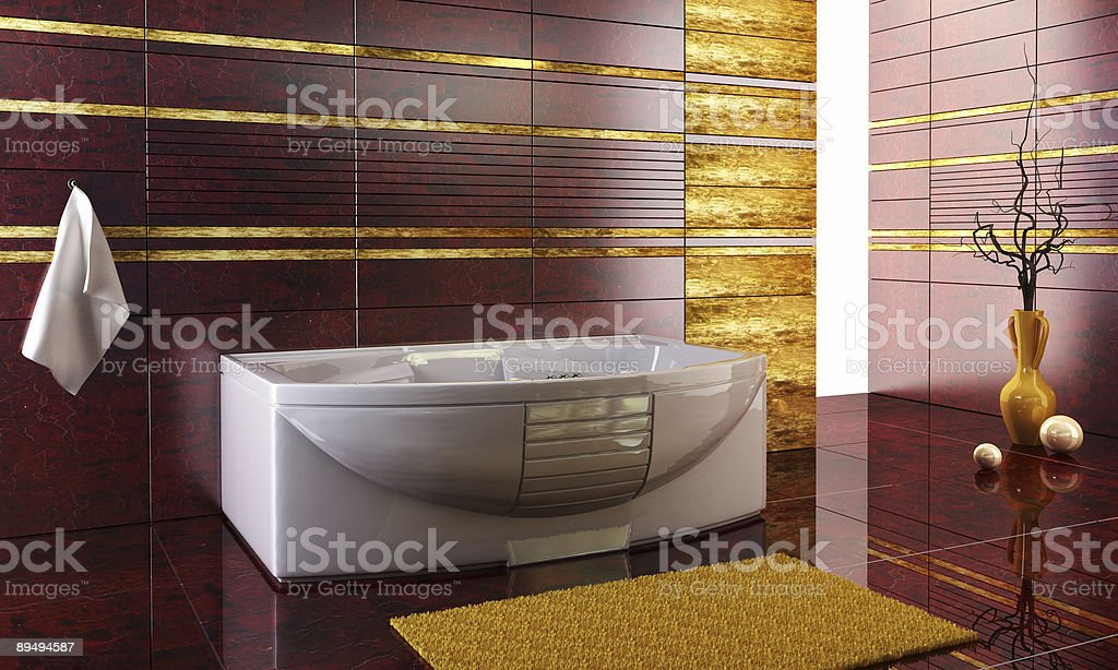 staggered tiled design of the bathroom stock photo