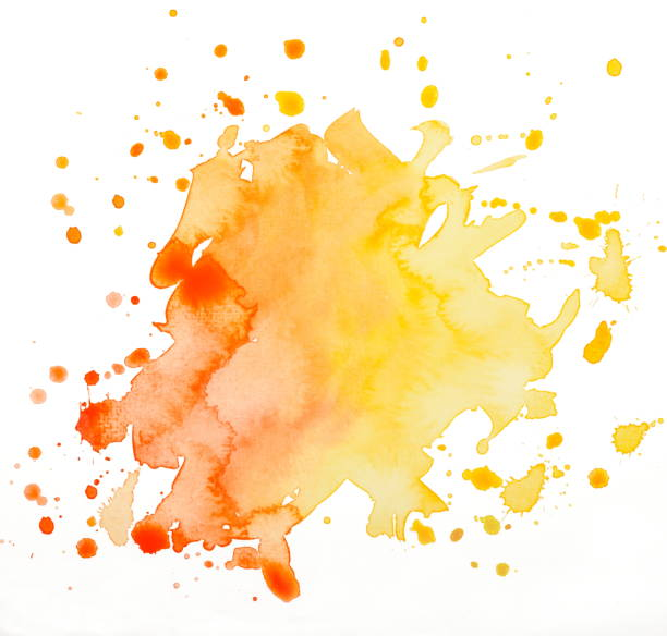 stain orange watercolor stain orange watercolor isolated on white tempera painting stock pictures, royalty-free photos & images