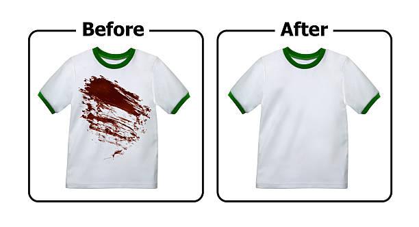 färbung-entferner versuchen, vor und nach dem waschen - fleckenentferner stock-fotos und bilder