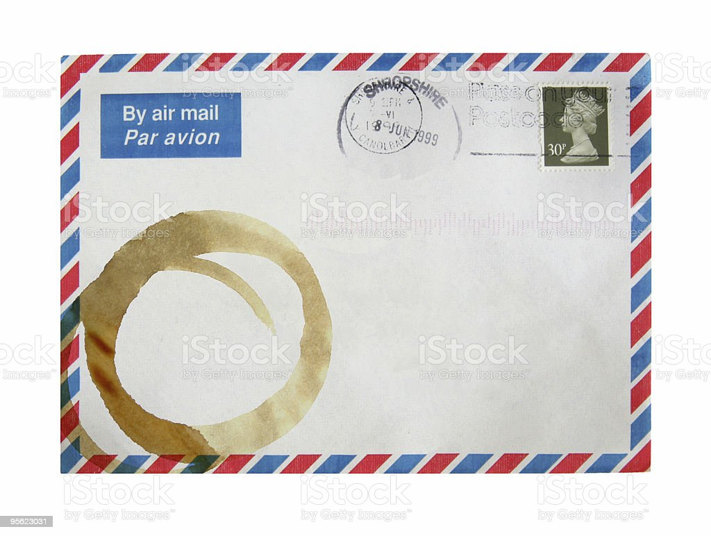 stained airmail envelope royalty-free stock photo