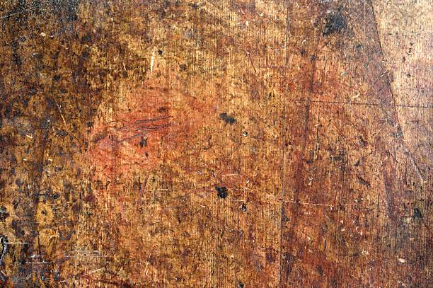 Stained And Marked Woodwork Bench Top Background  workbench stock pictures, royalty-free photos & images