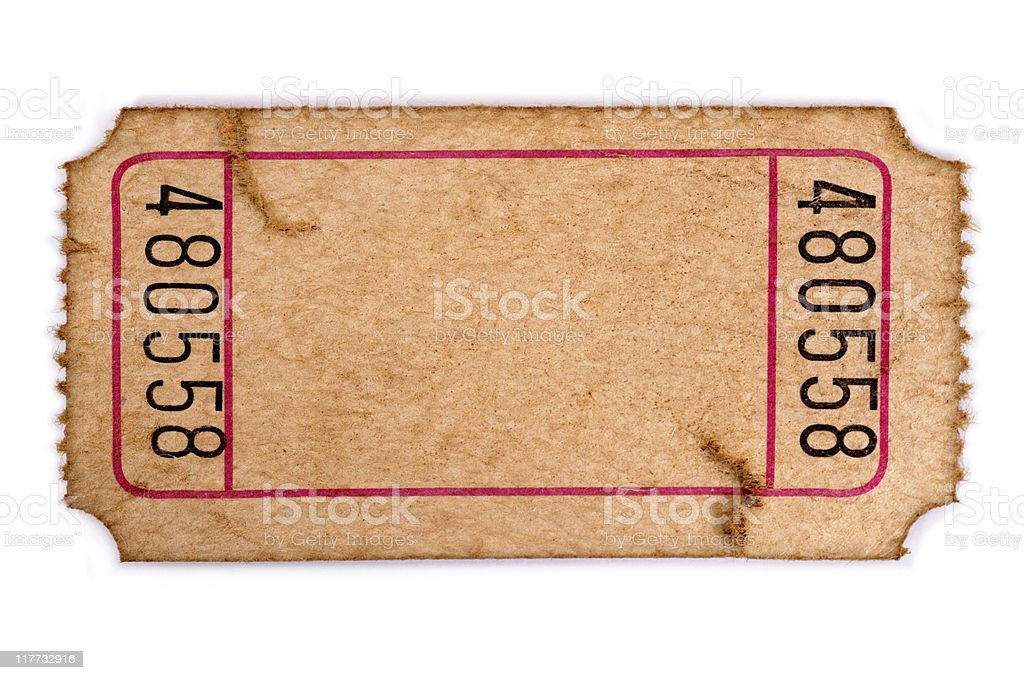 Stained blank admission ticket stock photo