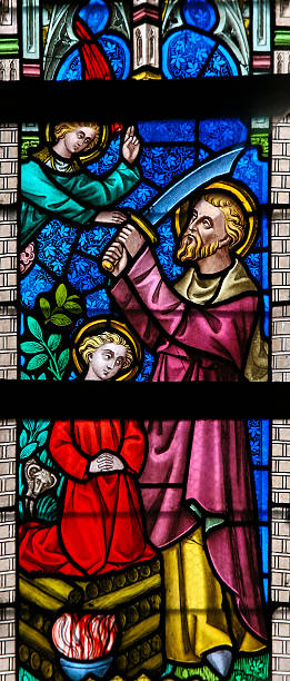 Stained Glass - Abraham and Isaac stock photo