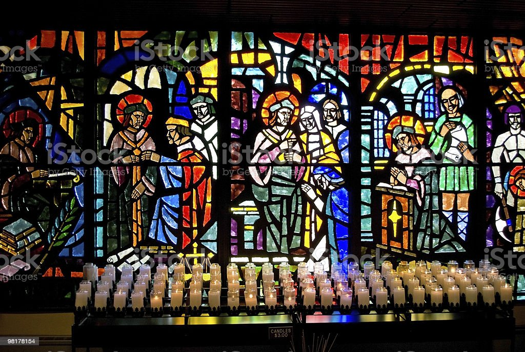 Stained Glass and Candles royalty-free stock photo