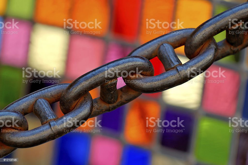 stained glass and chain royalty-free stock photo