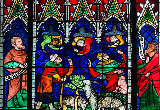 Stained Glass - Angels and Goats stock photo