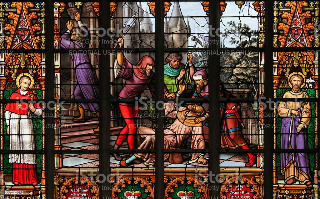 Stained Glass - Antisemitic stained glass in Brussels Cathedral - Photo