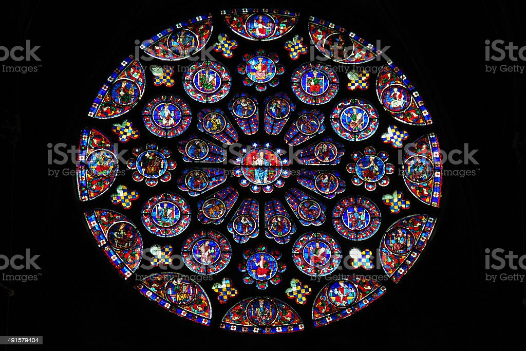 Stained Glass at Chartres Cathedral stock photo