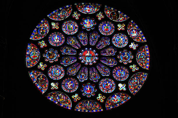 stained glass at chartres cathedral - rose window stock pictures, royalty-free photos & images