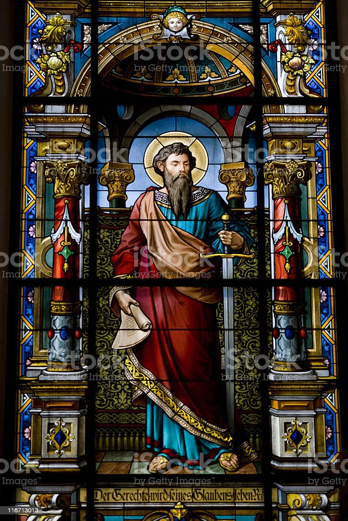 Stained glass at German Church in Stockholm stock photo