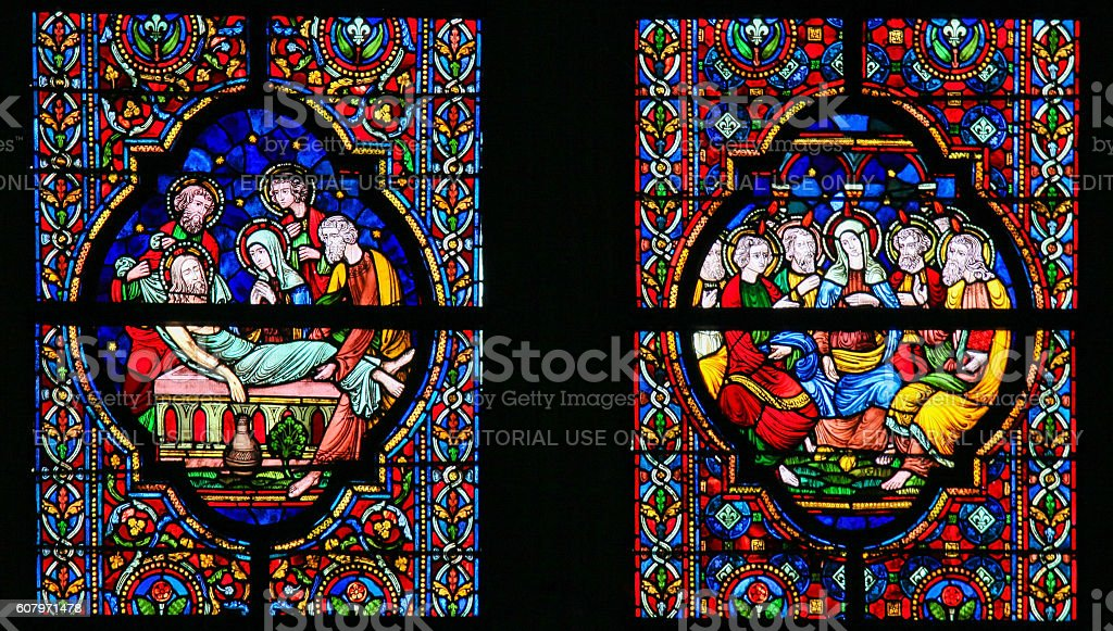 Stained Glass - Burial of Jesus and Pentecost stock photo