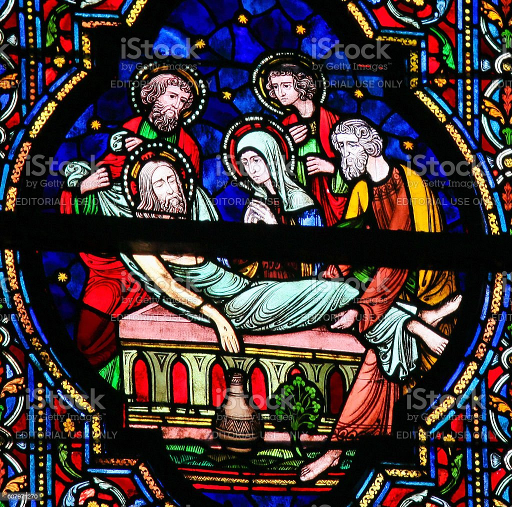 Stained Glass - Burial of Jesus stock photo