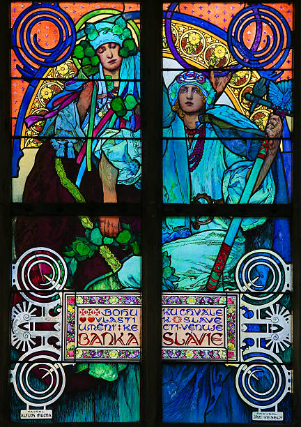 Stained Glass by Alphonse Mucha in Prague Cathedral - foto de stock