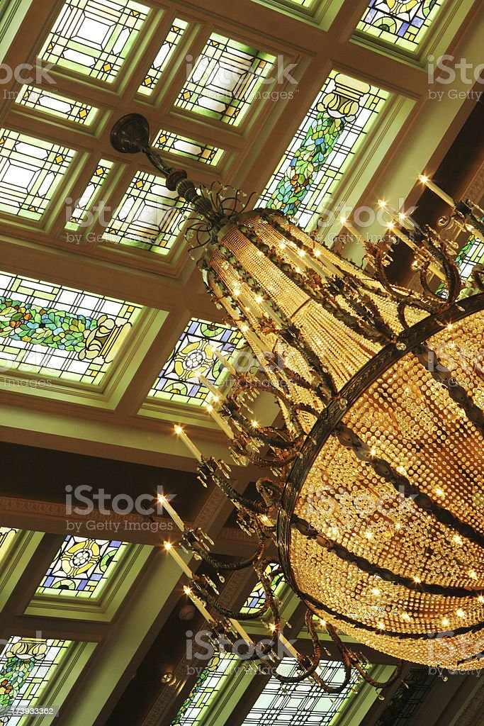 Stained Glass Ceiling Chandelier Decor stock photo