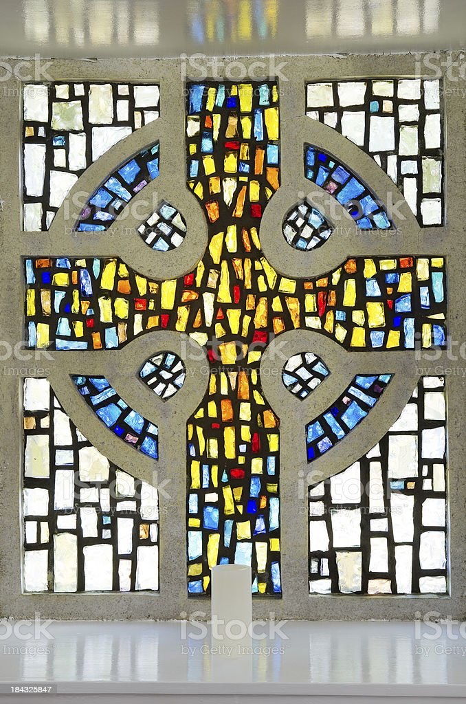 Stained glass Celtic cross stock photo