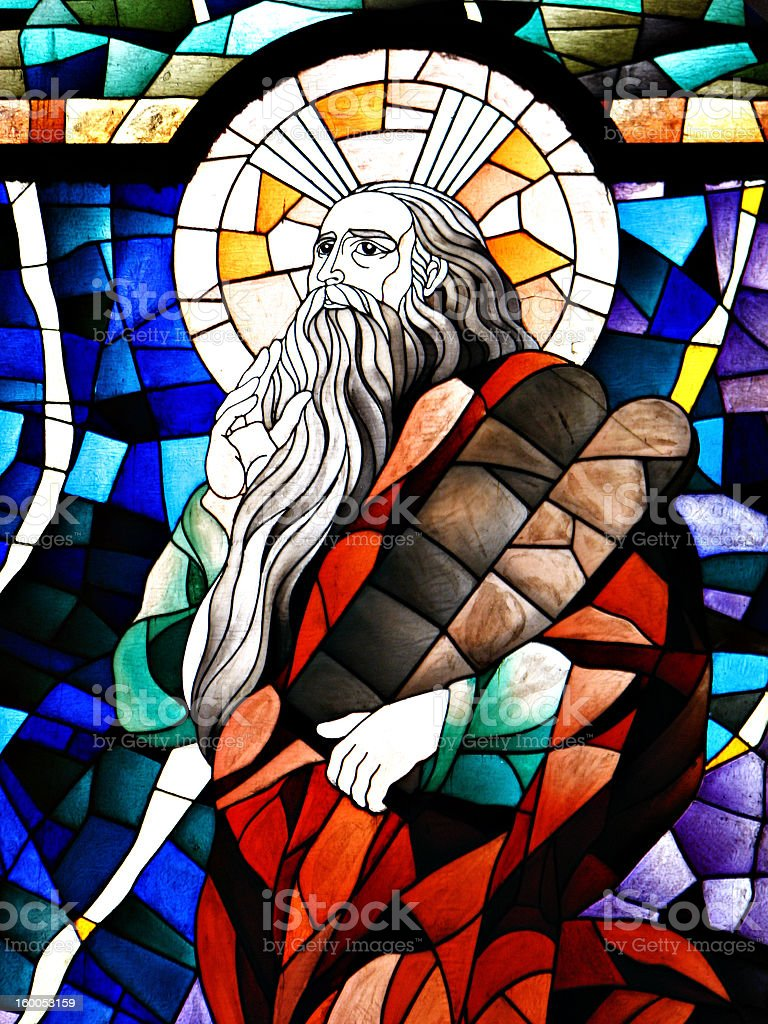 Stained Glass Detail of Prophet Elijah stock photo