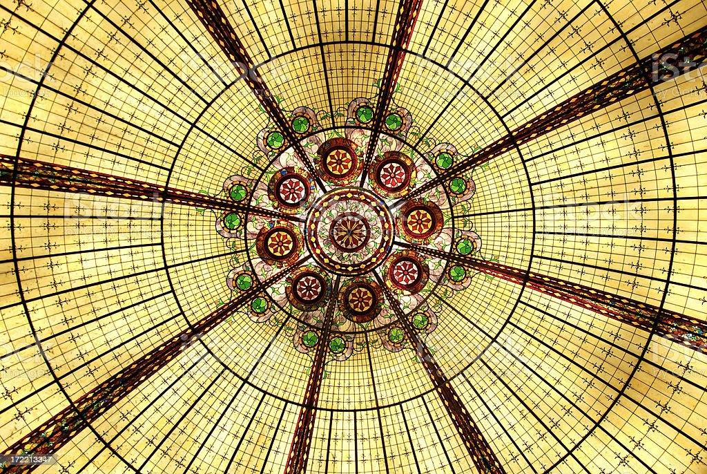 Stained Glass Dome Ceiling royalty-free stock photo