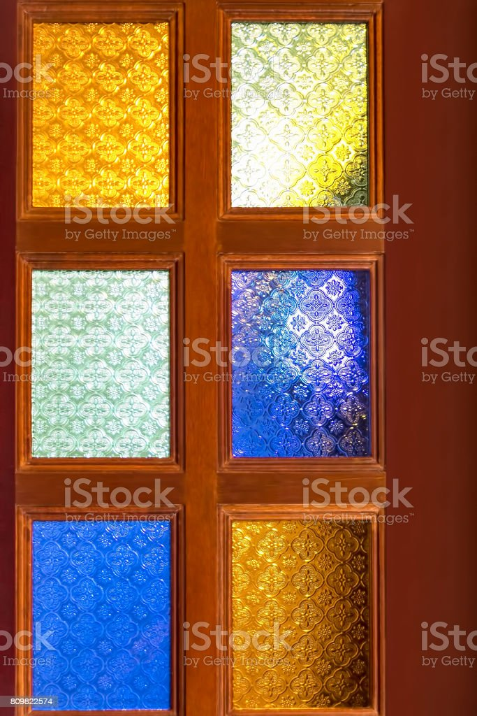 Stained Glass Door stock photo