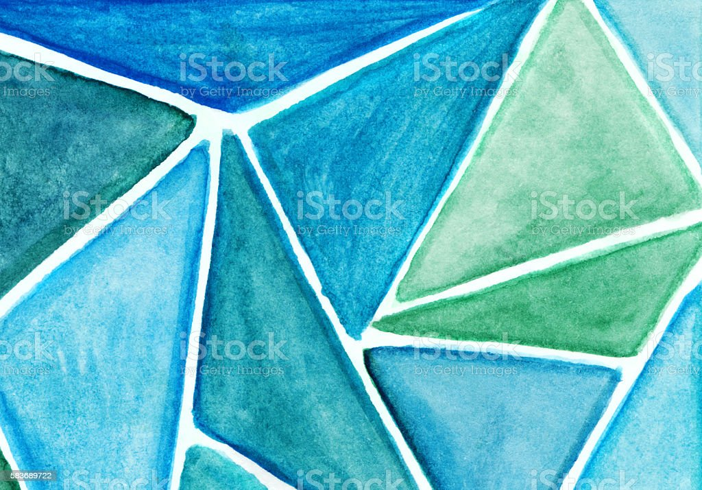 Stained glass effect painting with shades of blue triangles stock photo