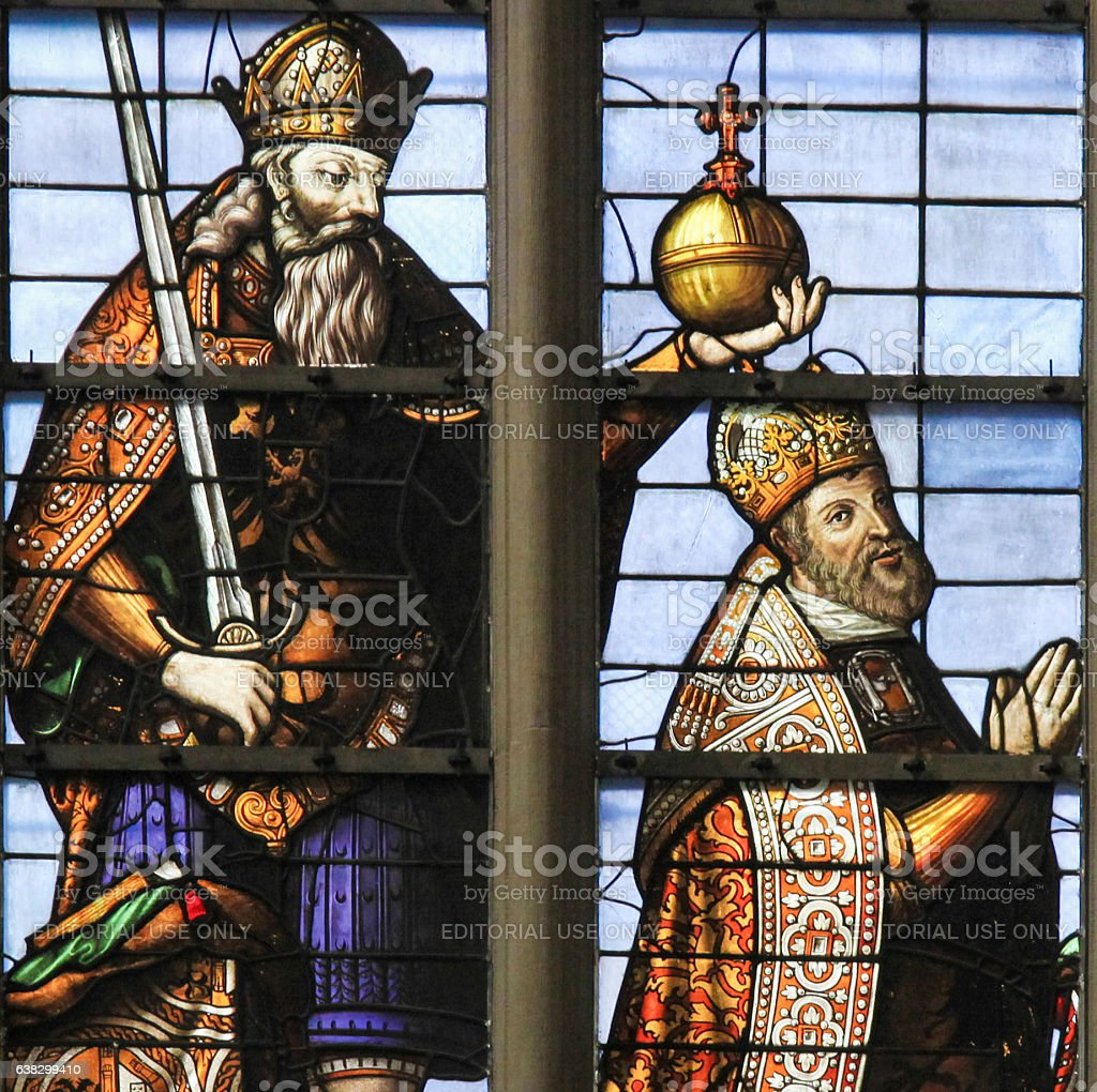 Stained Glass - Emperor Charles V stock photo