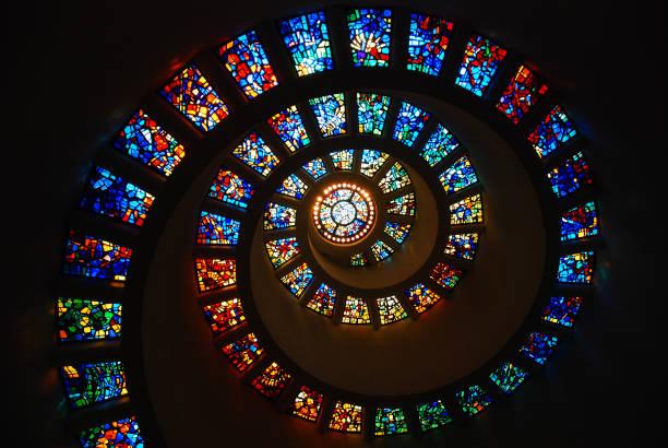 彩色玻璃斐波那契 - 重複螺旋型 個照片及圖片檔