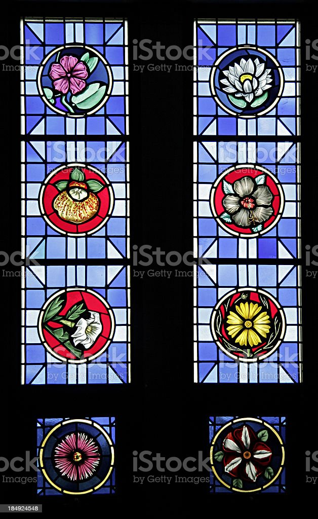 Stained Glass Flowers stock photo