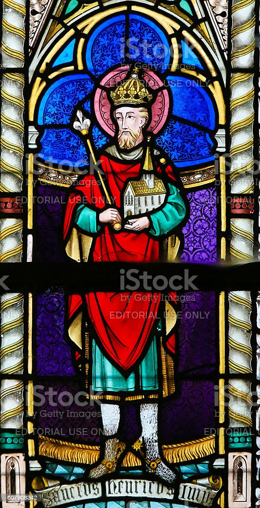 Stained Glass - Henry II, Holy Roman Emperor stock photo