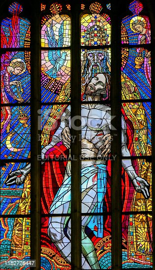 Stained Glass in St. Vitus Cathedral, Prague, depicting the Holy Trinity, Father, Son and Holy Spirit